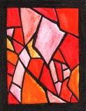 Vitral rojo de la acuarela ilustración del vector