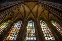 Vitral, santo Barbara Church en Kutna Hora foto de archivo libre de regalías