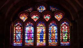 Vitrales en la abadía de Fontfroide Foto de archivo