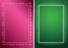 Vitramar på gröna och röda bakgrunder stock illustrationer
