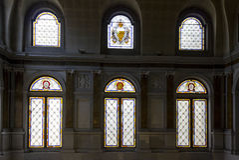 Vitraux colorés de Palazzo Litta à Milan, Italie Image libre de droits