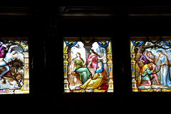 Vitraux colorido na sala da música dentro do Pel de Castelul do castelo de Peles Imagem de Stock