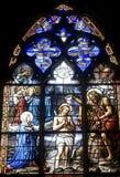 Vitre, Bretagne, Buntglas Stockbild