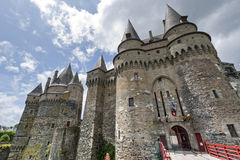 Vitre, Brittany, castle. Vitre (Ille-et-Vilaine, Brittany, France) - Medieval castle, exterior Royalty Free Stock Images