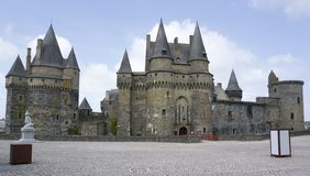 Vitre. The castle of Vitre in Brittany, France Stock Image