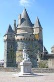 Vitre castle, France. Statue by Vitre Castle in France Stock Images