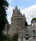 Vitre castle. Scenic view of Vitre castle with blue sky and cloudscape background, France Royalty Free Stock Images