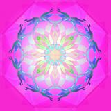VITREAUX坛场,明亮的坛场,强烈的光在中环中心中,几何形状,白色中心花,紫色几何背景, 库存例证
