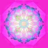 VITREAUX mandala, JASKRAWY mandala, INTENSYWNY światło W centrum, GEOMETRYCZNY kształt, bielu centrum kwiat, PURPUROWY GEOMETR ilustracji