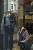 Vitrine. A Christmas vitrine in Athens Greece that is broken after an attack Stock Images