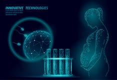In vitro lågt poly för befruktning 3D Affärsidé för havandeskap för gravid kvinnamedicinhälsovård sund polygonal vektor illustrationer