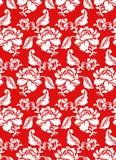 Vitros på den traditionella ryska prydnaden för röd bakgrund Royaltyfria Bilder