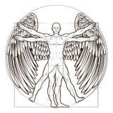 Vitruvian mężczyzna anioł ilustracja wektor