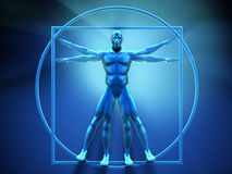 Vitruvian man. This is a 3d render  illustration Royalty Free Stock Image