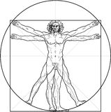 The Vitruvian man. Detailed drawing on the basis of artwork by Leonardo da Vinci by ancient manuscript of Roman master Marcus Vitruvius Pollio vector illustration
