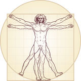 The Vitruvian man. Detailed drawing on the basis of artwork by Leonardo da Vinci (executed circa in 1490) by ancient manuscript of Roman master Marcus Vitruvius Royalty Free Stock Photo