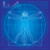 The Vitruvian man (Blueprint version). 'Homo vitruviano'. So-called The Vitruvian man a. k. a. Leonardo's man. Detailed drawing on the basis of artwork by stock illustration