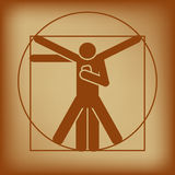 Vitruvian man checking smartphone Royalty Free Stock Photography