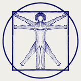 Vitruvian man. Doodle style Royalty Free Stock Photography