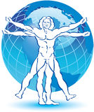 Vitruvian Man drawing Stock Photo