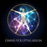 Vitruvian man in glowing spheres emblem Stock Image