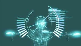 Vitruvian man graphic with interface animation