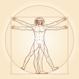 The Vitruvian man (Homo vitruviano). «HOMO VITRUVIANO». So-called The Vitruvian man a.k.a. Leonardo's man. Detailed image drawing on the vector illustration