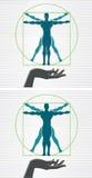 Vitruvian man. Icon of a hand and man vector illustration