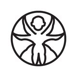 Vitruvian man icon vector isolated on white background, Vitruvian man sign , line symbol or linear element design in outline style stock illustration