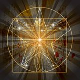 The Vitruvian Man Inscribed In The Pentagram. The Vitruvian Man Inscribed In The Medieval Mystic Pentagram (Pentacle stock illustration