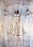 Vitruvian man - Leonardo Da Vinci. The Vitruvian Man by Leonardo Da Vinci from 1492. With this picture, Leonardo will give proportions of the construction of the royalty free stock photos