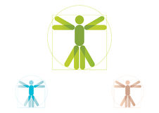 Vitruvian man logo. Vitruvian man symbol representation made famous by Leonardo da Vinci royalty free illustration