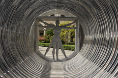 Vitruvian man made in marble. MILAN, ITALY - APRIL 14 2015: Design installation by the Lebanese architect Bernard Khoury Margraf at Milan public university royalty free stock photo