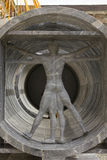Vitruvian man made in marble. MILAN, ITALY - APRIL 14 2015: Design installation by the Lebanese architect Bernard Khoury Margraf at Milan public university stock photos