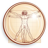 The Vitruvian man (under Microscope) Royalty Free Stock Photos