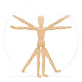 Vitruvian Mannequin Wooden Figure Royalty Free Stock Images