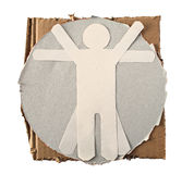 Vitruvian Paper Man. Da Vinci theme isolated on white stock photo