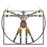 Vitruvian robot worker. 3d rendering stock illustration