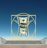 Vitruvian US Dollar - business success, standards. There are Vitruvian designed 100 US Dollars on the high marble stairs against beautiful blue sky. It is the royalty free stock photos