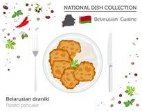 Vitrysk kokkonst Europeisk nationell maträttsamling PotatisPA vektor illustrationer