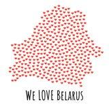 Vitryssland översikt med röda hjärtor - symbol av förälskelse abstrakt bakgrund stock illustrationer