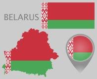 Vitryssland flagga, översikt och översiktspekare vektor illustrationer