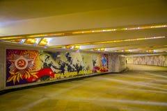 VITRYSSLAND MINSK - MAJ 01, 2018: Inomhus sikt av korridorväggen som målas, inom av det vitryska statliga museet av det stort Royaltyfria Bilder