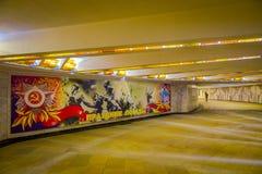 VITRYSSLAND MINSK - MAJ 01, 2018: Inomhus sikt av korridorväggen som målas, inom av det vitryska statliga museet av det stort Fotografering för Bildbyråer