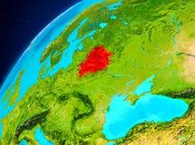 Vitryssland på jord från utrymme Arkivbild