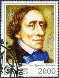 VITRYSSLAND - 2005: shower Hans Christian Andersen 1805-1875, författare Royaltyfri Foto