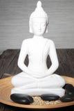 Vitstaty av en meditera buddha royaltyfri foto