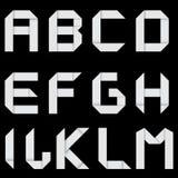 Vitt alfabet A M. Arkivfoton