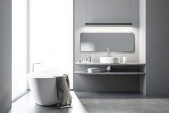 Vitt badrum för vind med en bada och en vask royaltyfri illustrationer