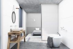 Vitt badrum och ett sovrum royaltyfri illustrationer